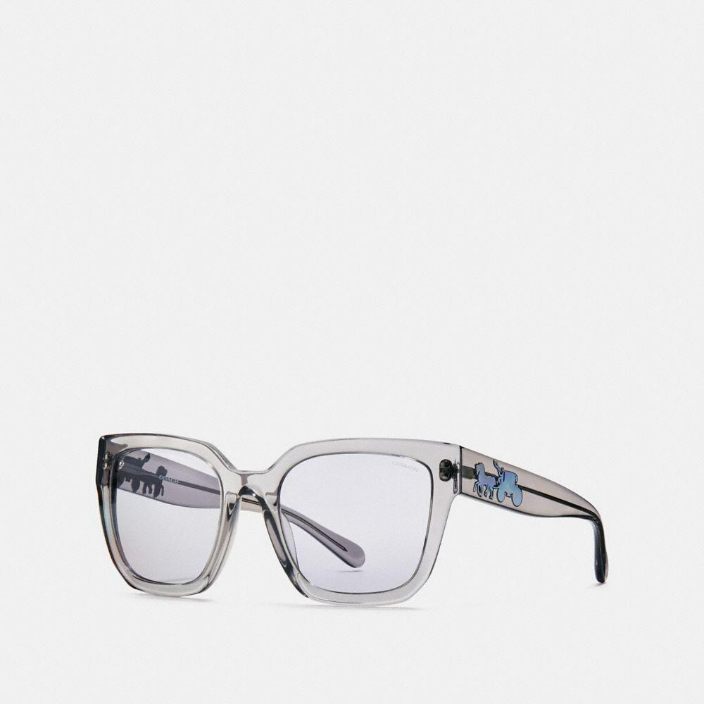 52f8f666a2710 Lyst - COACH Horse And Carriage Hologram Square Sunglasses in Gray