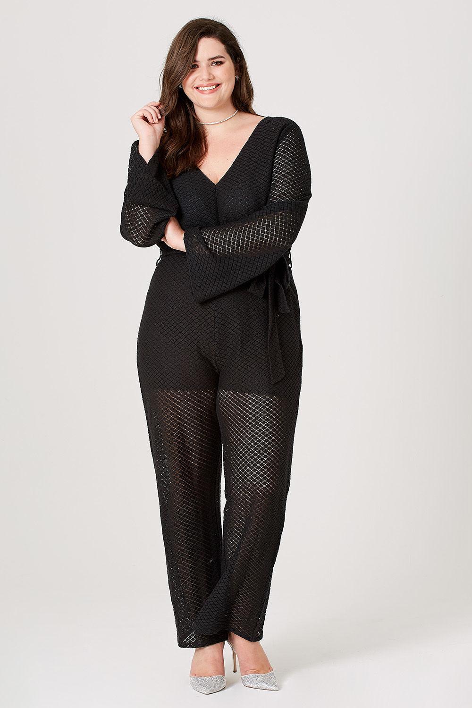 00b8acbbd9db Lyst - Elvi Ottlie Pointelle Wide-leg Jumpsuit in Black