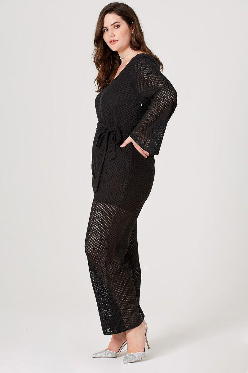 ca9cdd4266a6 Elvi - Black Ottlie Pointelle Wide-leg Jumpsuit - Lyst. View fullscreen