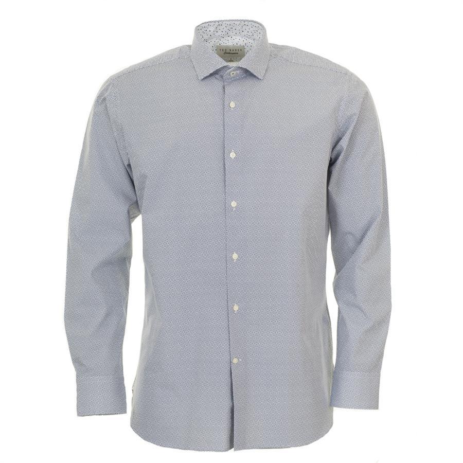 Ted Baker. Men's Blue Retro Print Long Sleeved Shirt