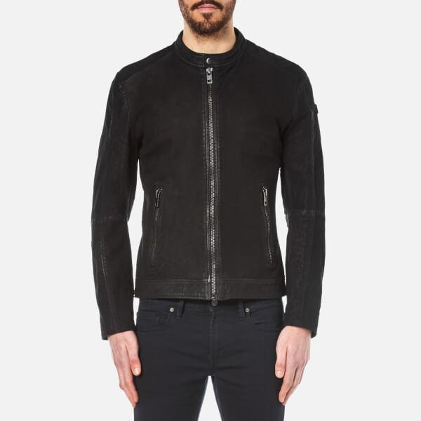 Boss Orange Men's Jonate Leather Jacket In Black For Men
