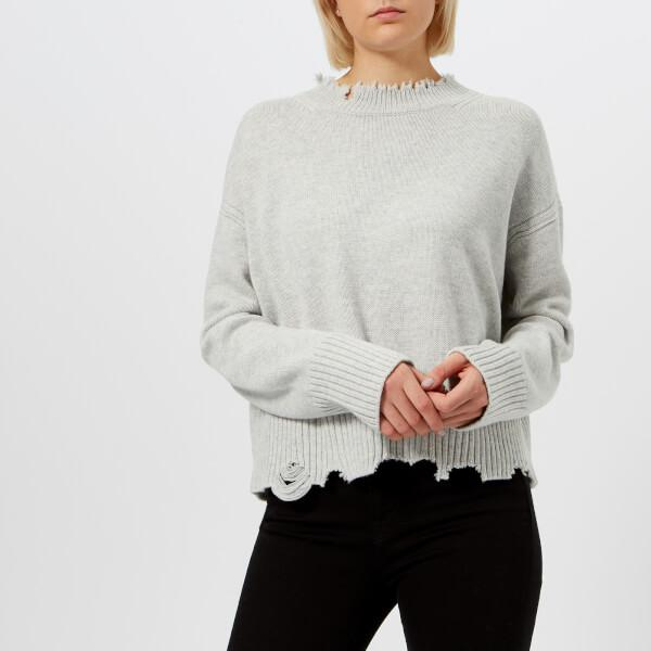 Helmut Lang Women s Distressed Crew Neck Jumper in Gray - Lyst 2522fc222