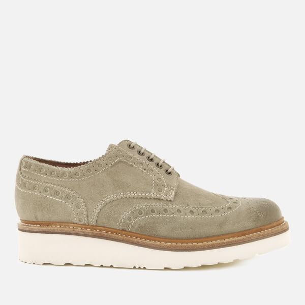 Grenson Men S Archie V Burnished Suede Brogues In Gray For