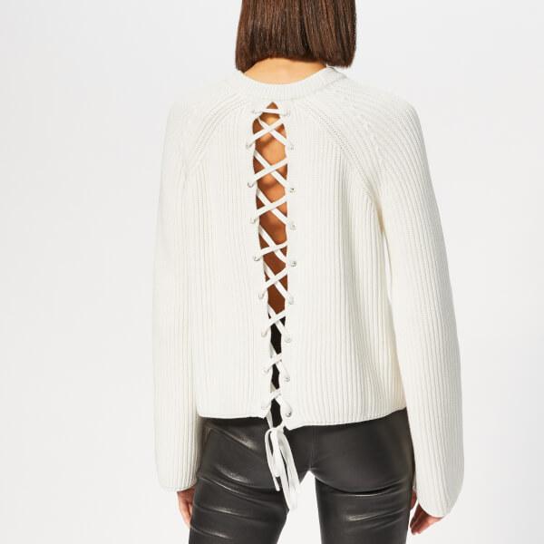McQ Alexander McQueen - White Women s Lace Up Knitted Jumper - Lyst. View  fullscreen 3e2a17a30