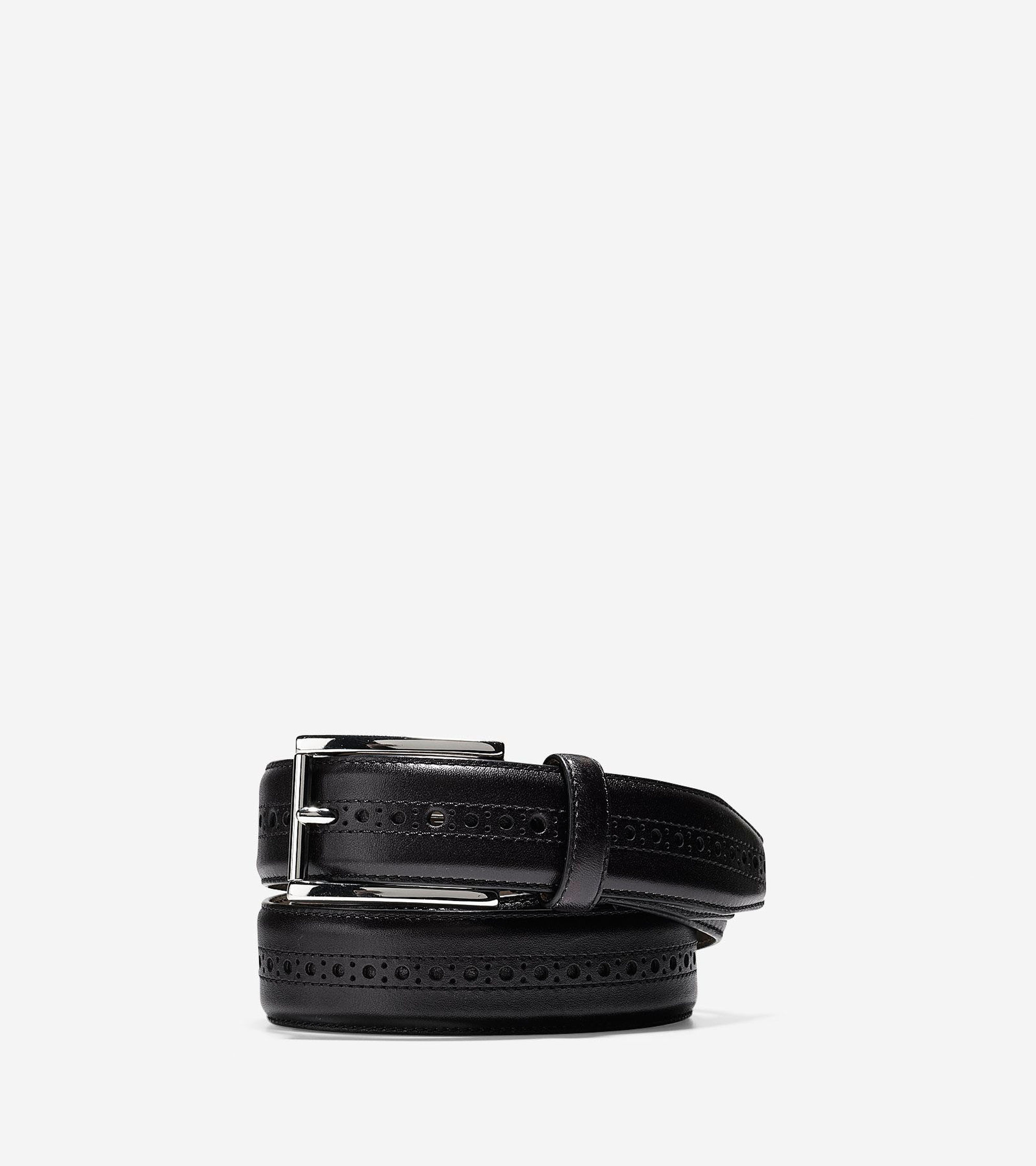 Cole haan Hamilton Grand 32mm Brogued Belt in Black for ...