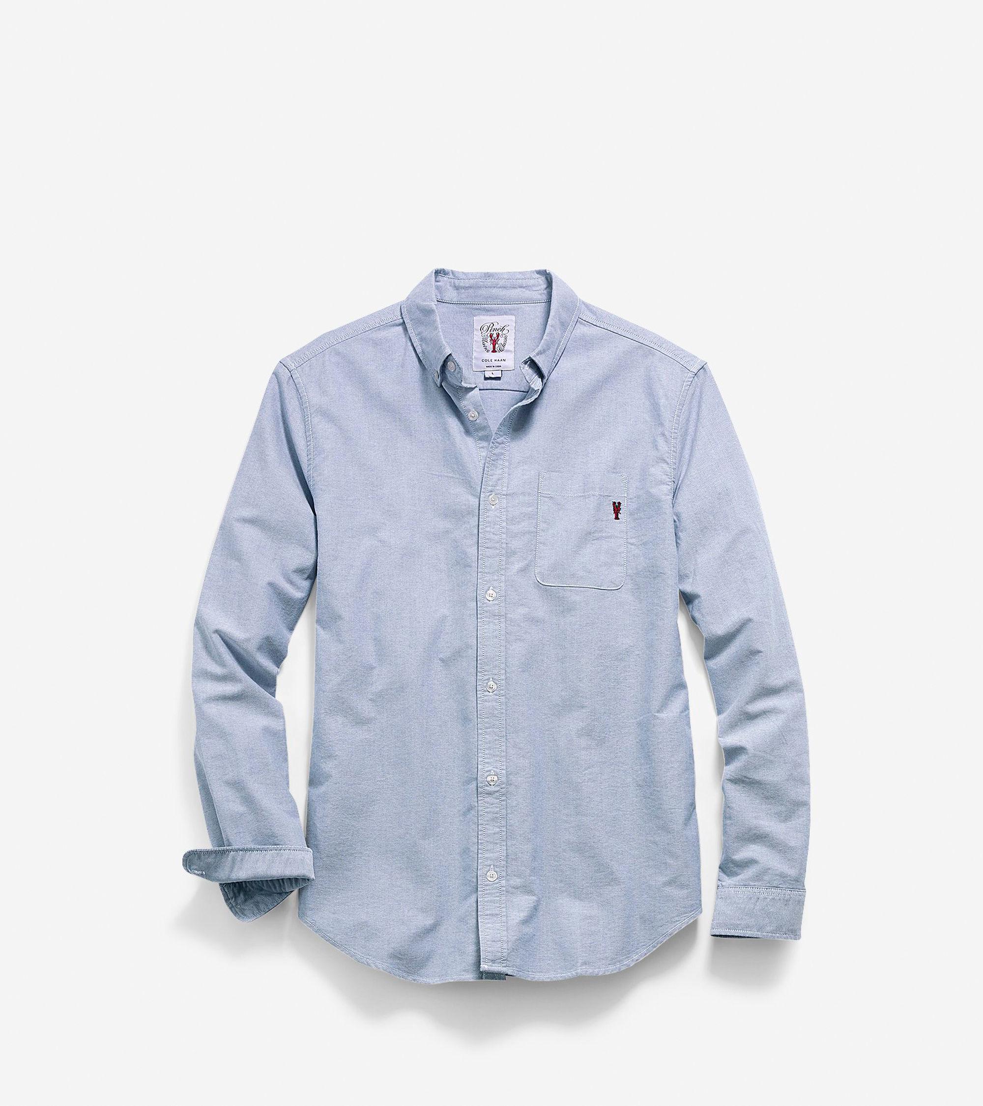 Cole haan Men's Pinch Long Sleeve Oxford Pocket Shirt in Blue for Men (Sky) | Lyst