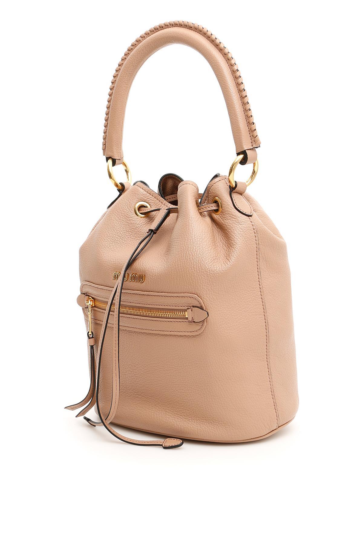 7895899219d Lyst - Miu Miu Madras Bucket Bag