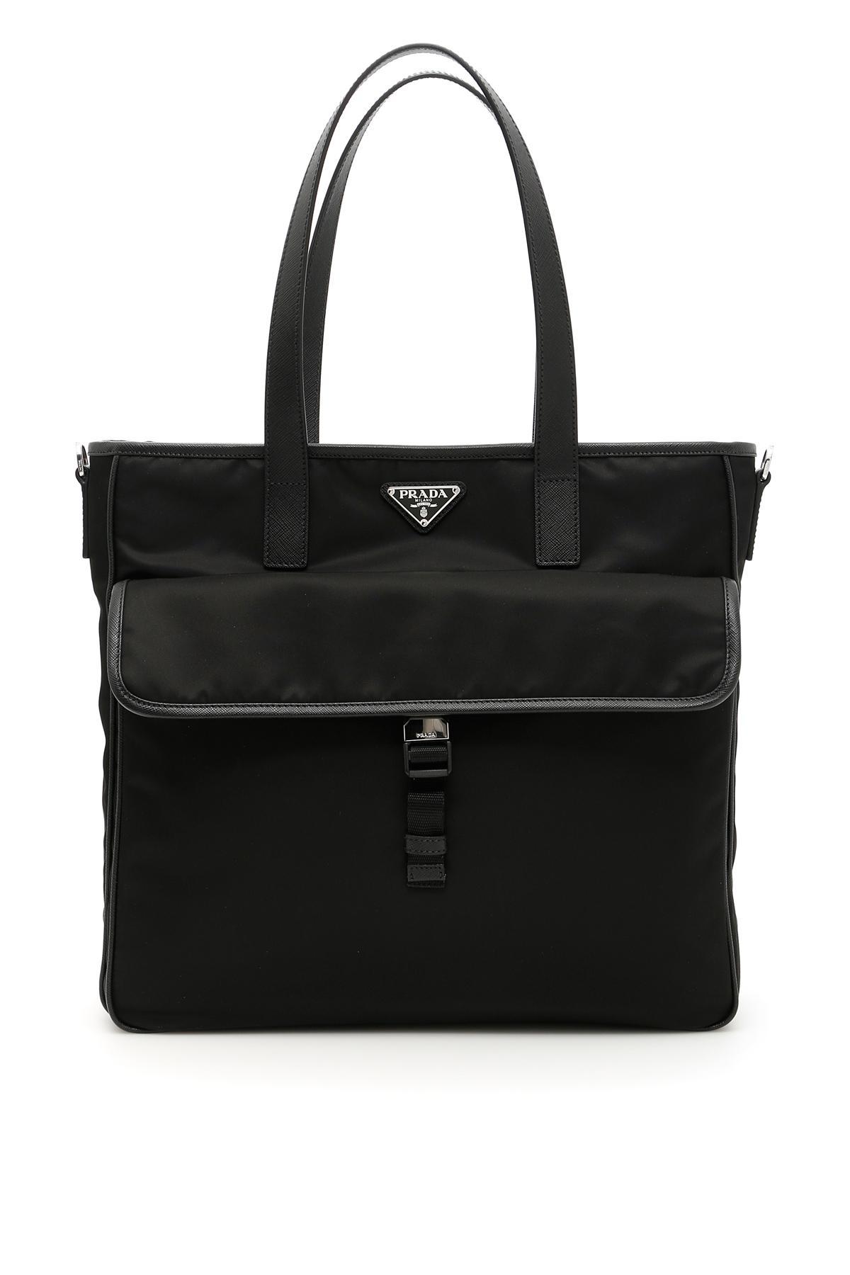 a947b2491bd2f9 Lyst - Prada Nylon And Saffiano Tote Bag in Black for Men