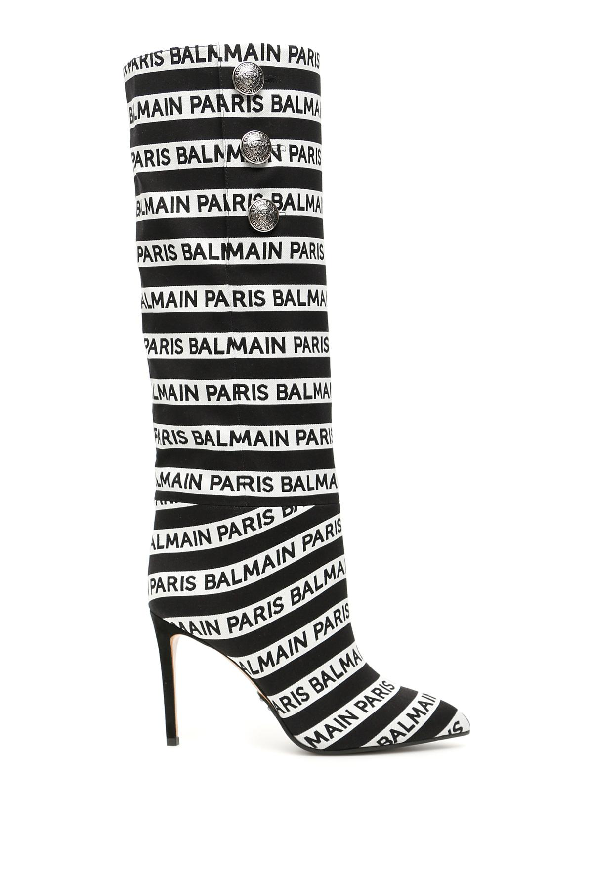 9ef322461d Balmain Jane Boots With Jacquard Logo in Black - Lyst