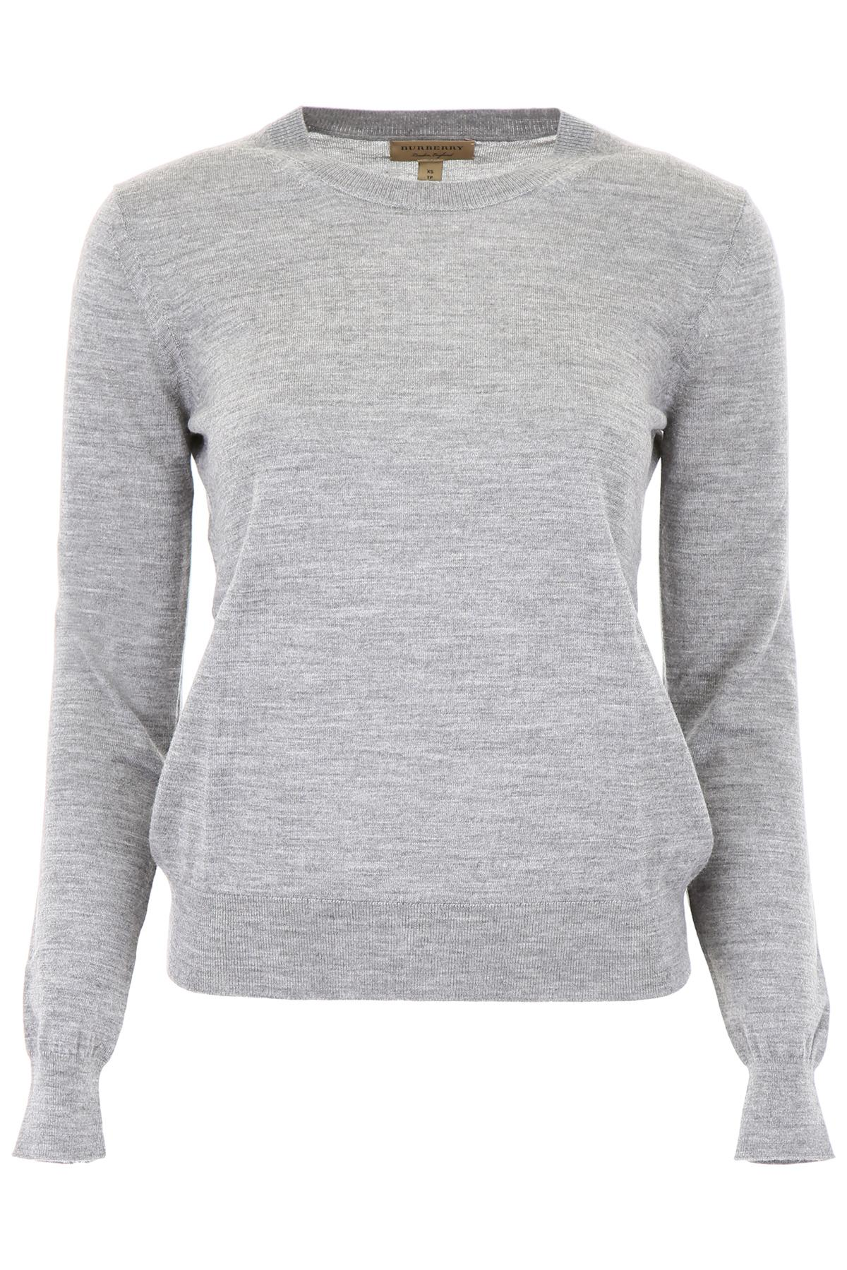 4fb5b0c51360 Lyst - Burberry Wool Pullover With Tartan Details in Gray