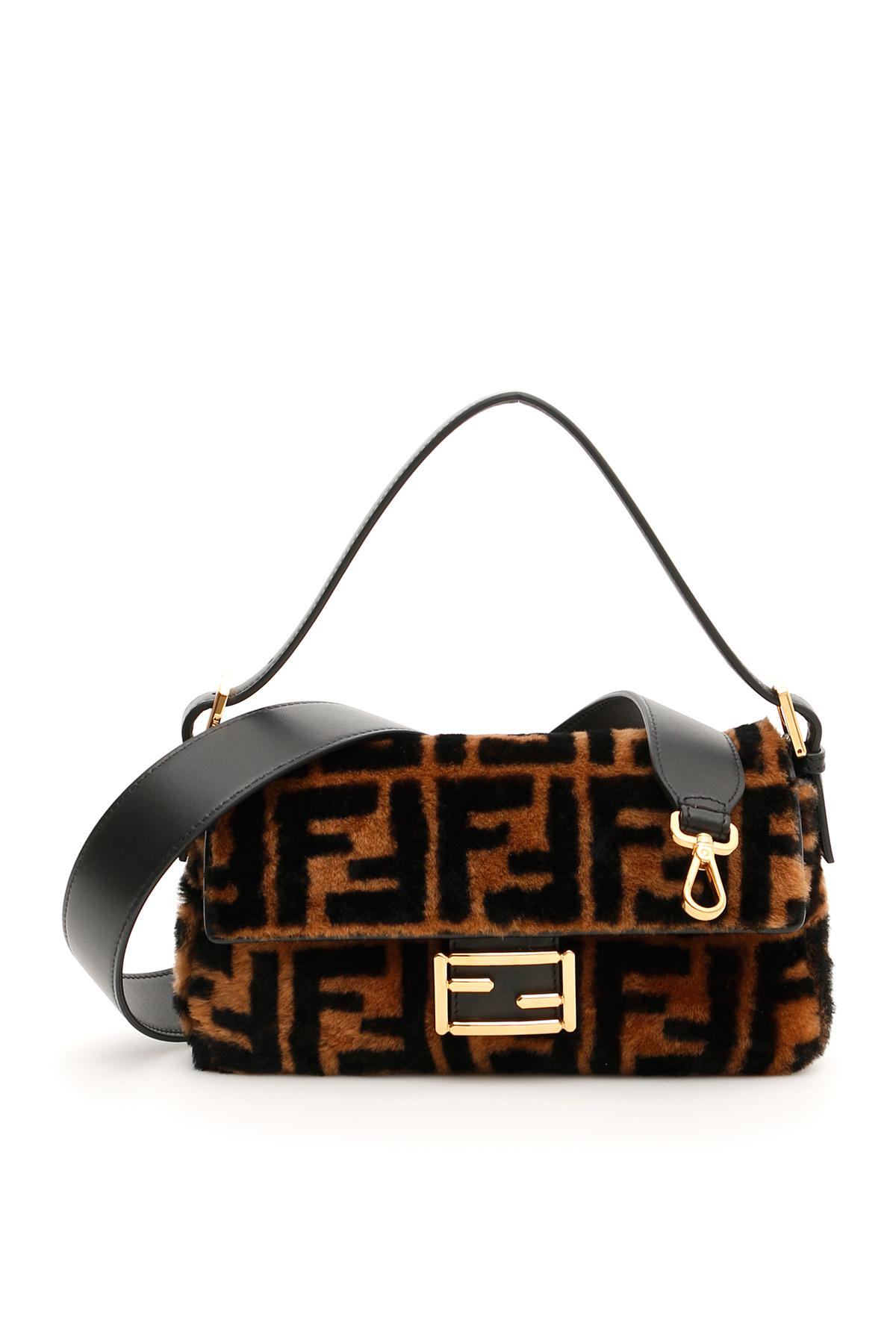 Lyst - Fendi Shearling Ff Baguette Bag in Black 7a4dcae00ad60