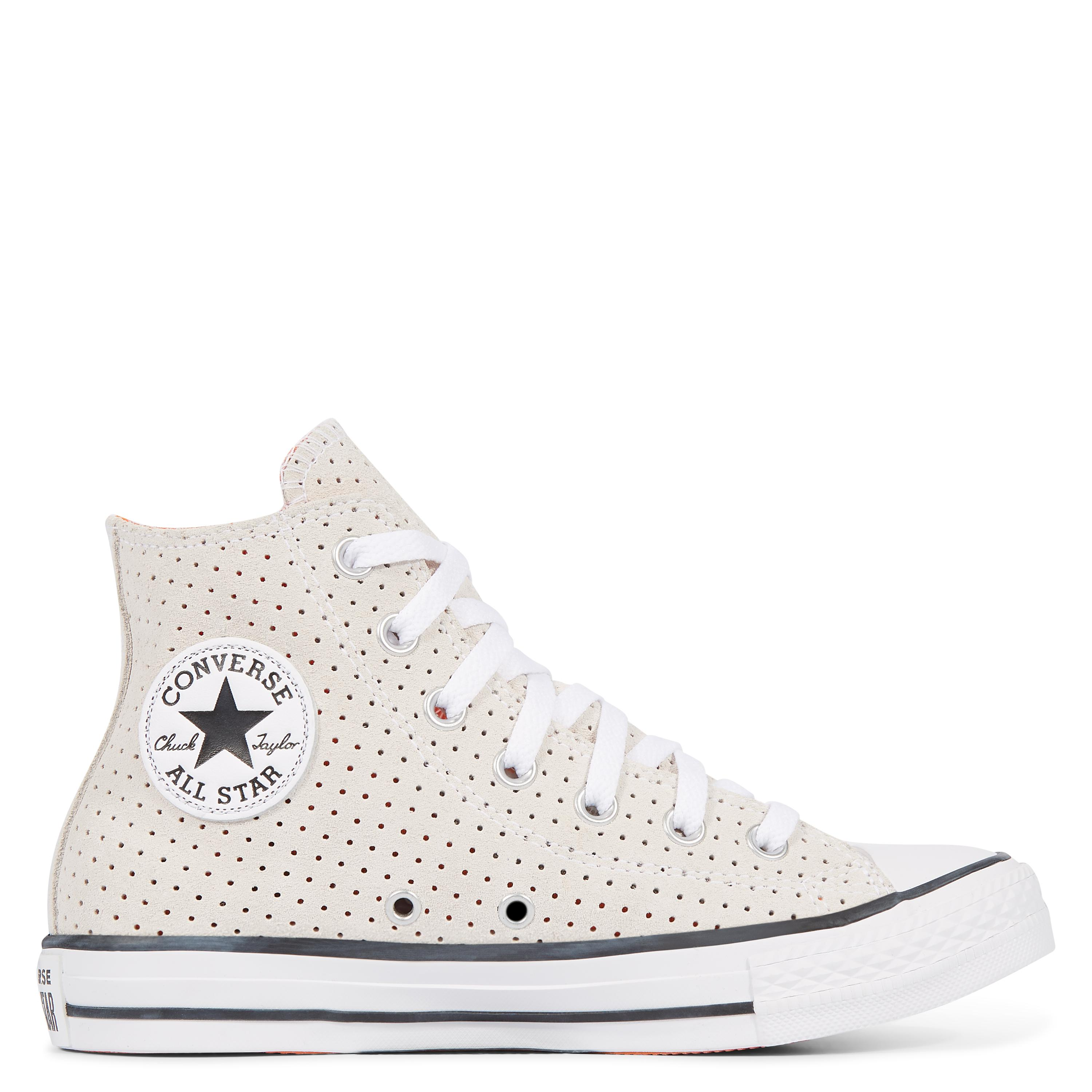 949ff8ee0390 Converse Chuck Taylor All Star Perforated Suede High Top in White - Lyst