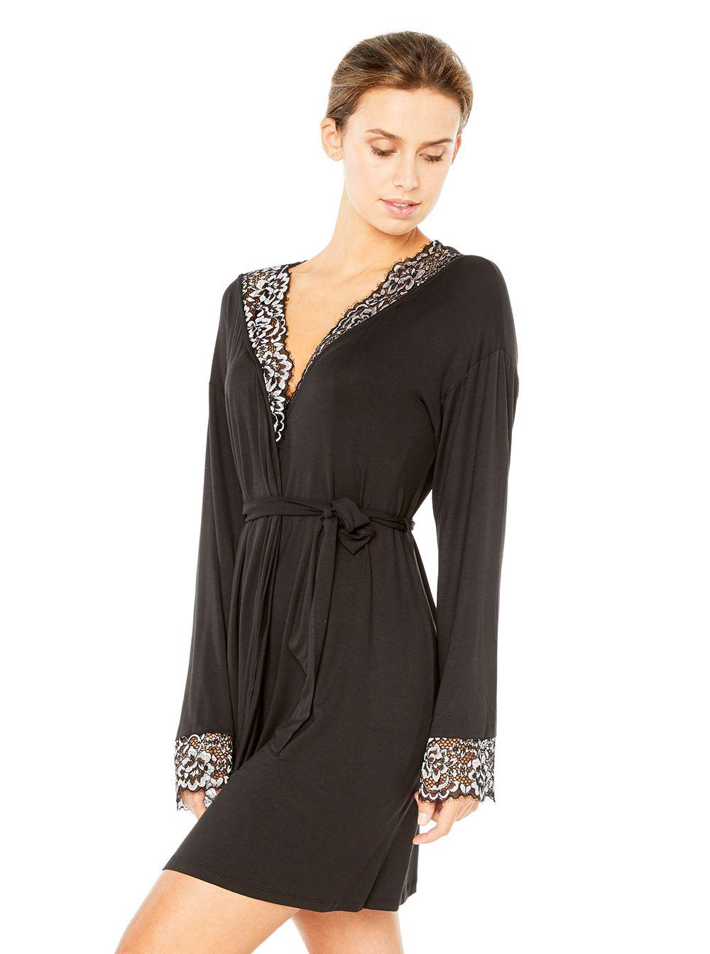 Lyst cosabella pret a porter sleepwear robe in black for Pret a porter uk