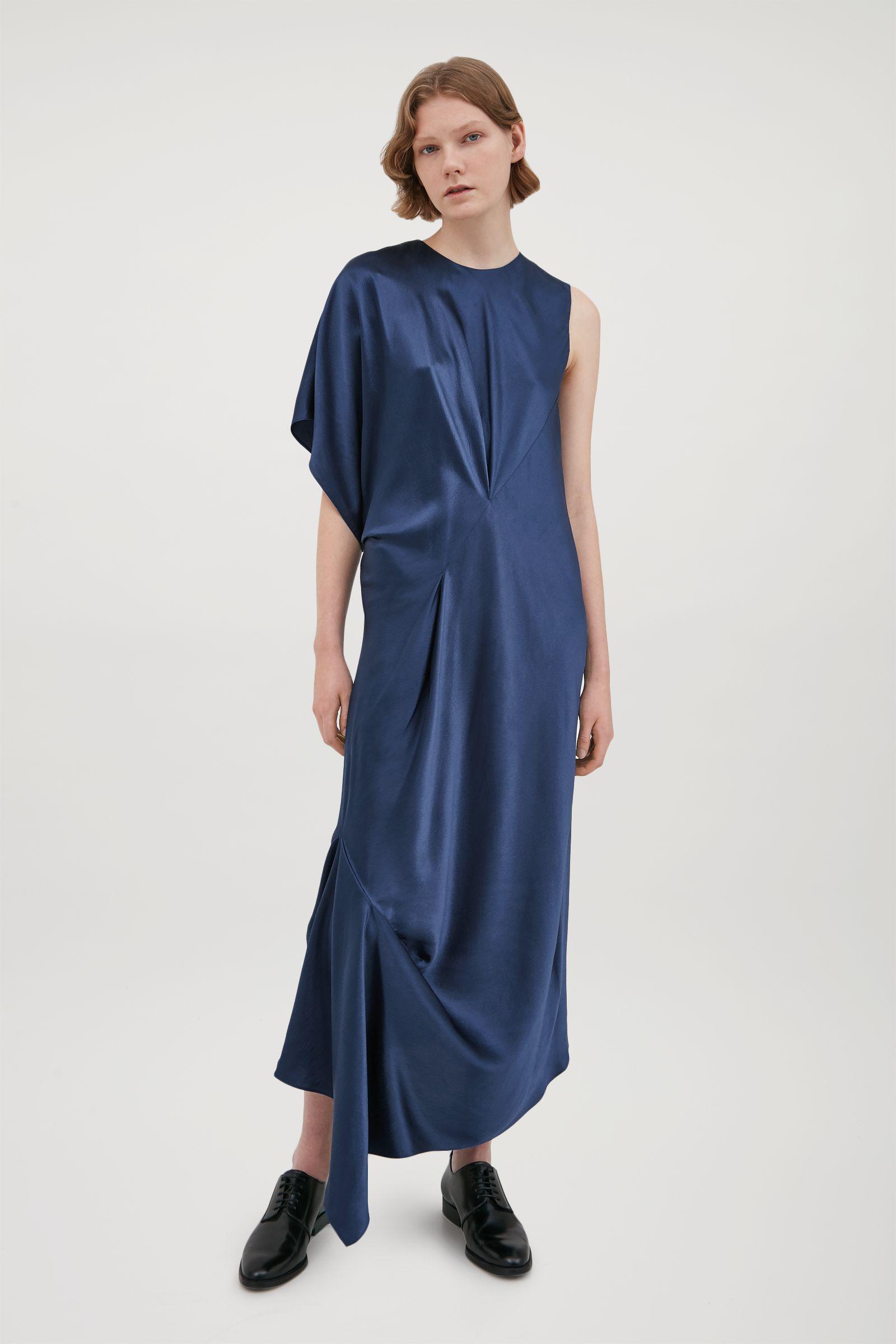 ba047a2733a8f COS Silk Dress With Asymmetric Drape in Blue - Lyst
