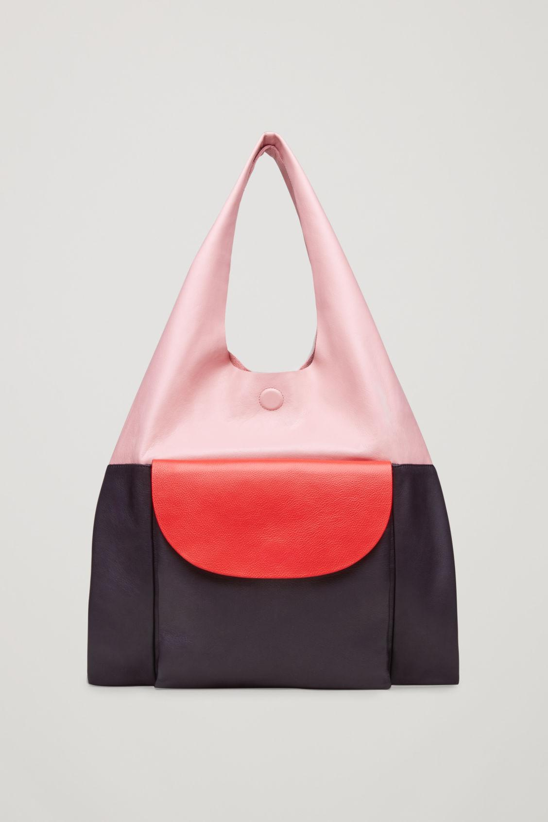 Lyst Cos Colour Block Leather Tote Bag Pink In Pink