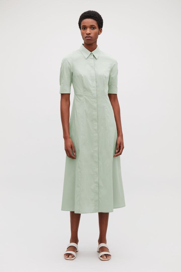 6c67d635d2a7 COS Long Cotton Shirt Dress in Green - Lyst