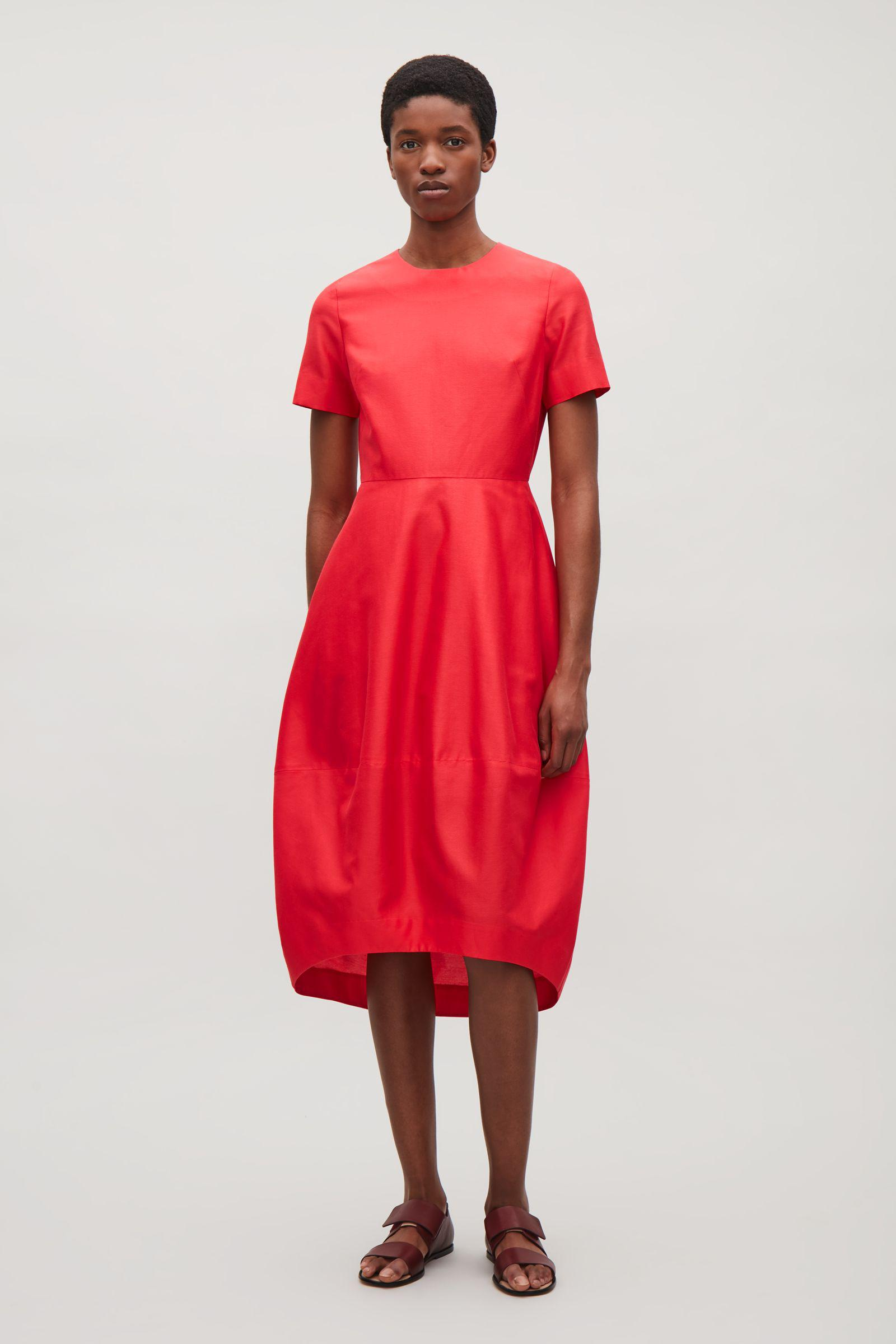 2ac87b721f840 COS Dress With Cocoon Skirt in Red - Lyst