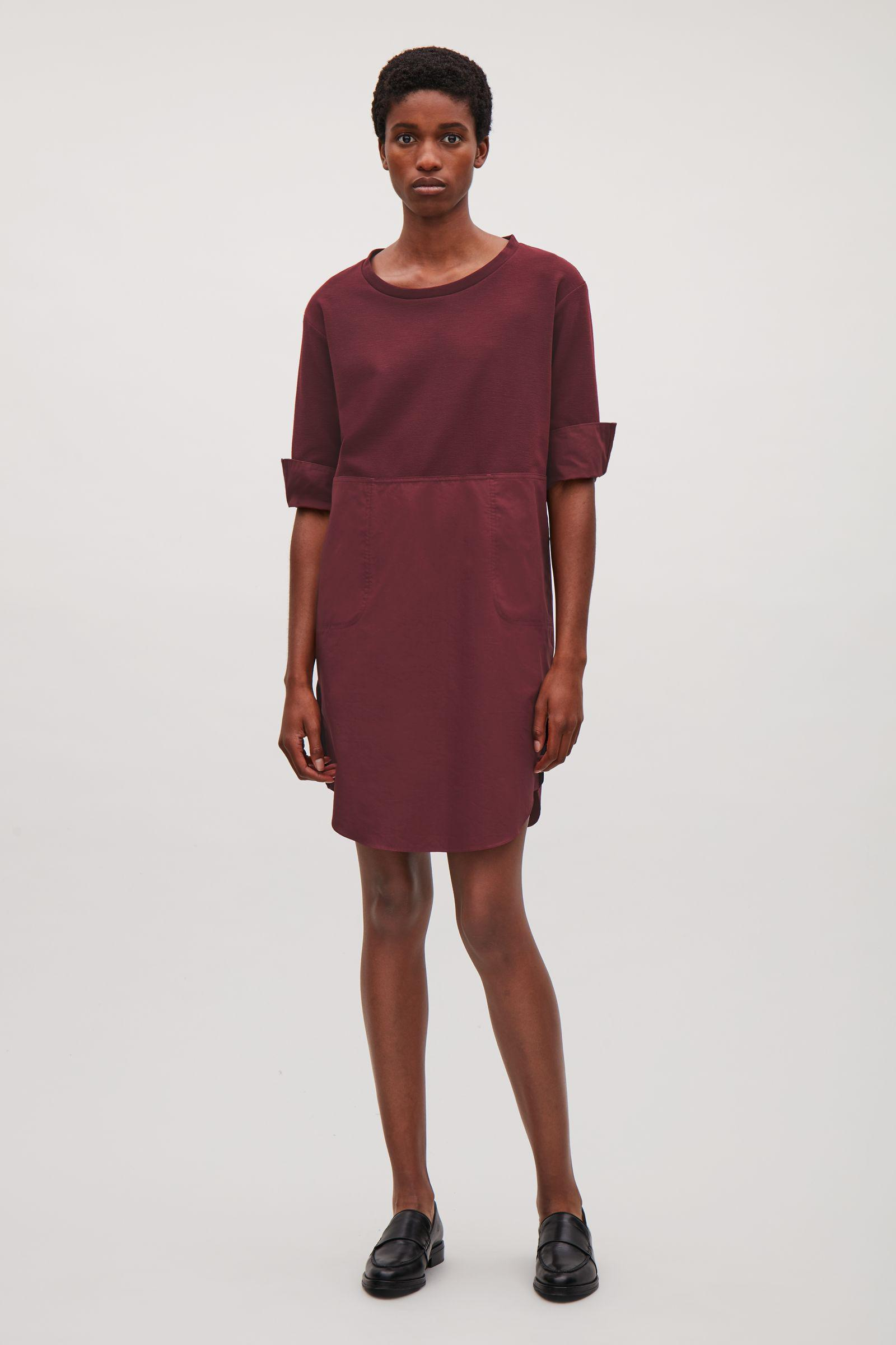 5a003be27ab1 COS Knit And Cotton Poplin Dress in Red - Lyst
