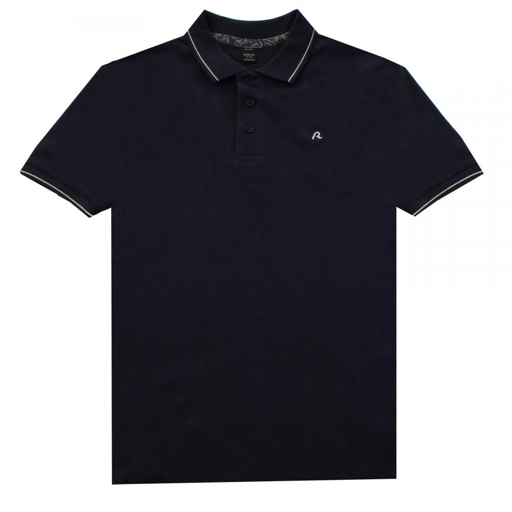 Lyst replay solid stretch pique mens polo shirt in blue for Stretch polo shirt mens