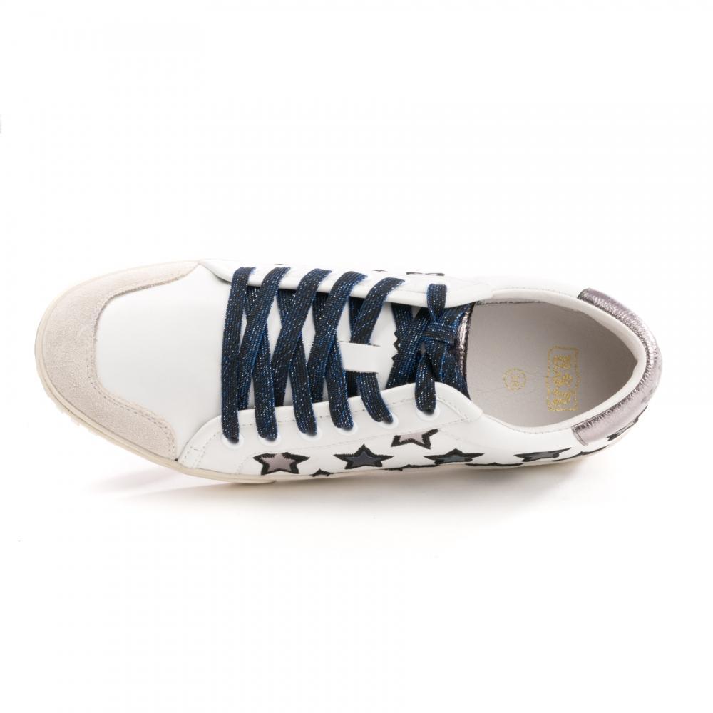 d676fb2500a93 White Majestic Star Motif Womens Sneakers