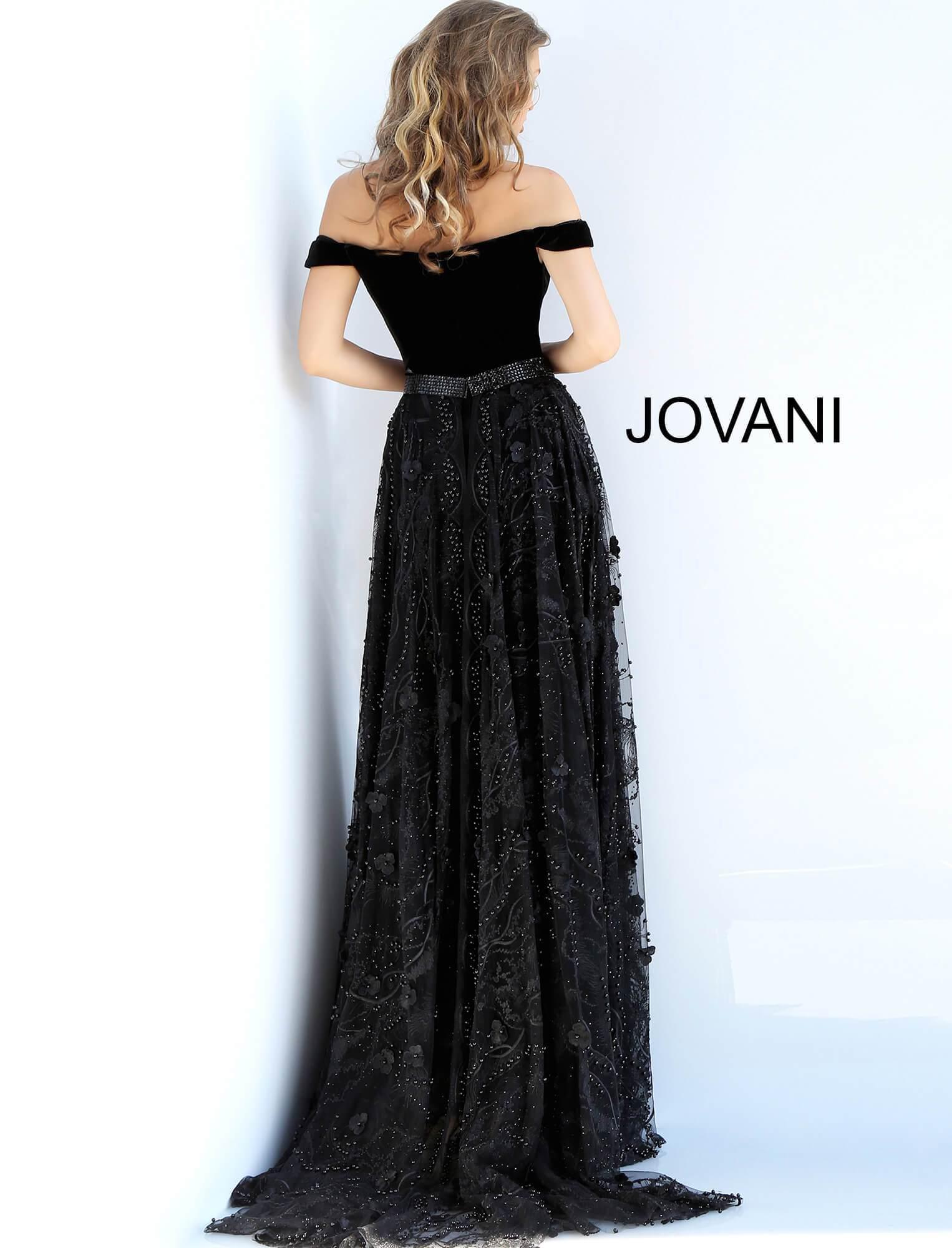 da5dae7c6a6 Jovani 58964 Off Shoulder Velvet Jumpsuit Overskirt Gown in Black - Lyst