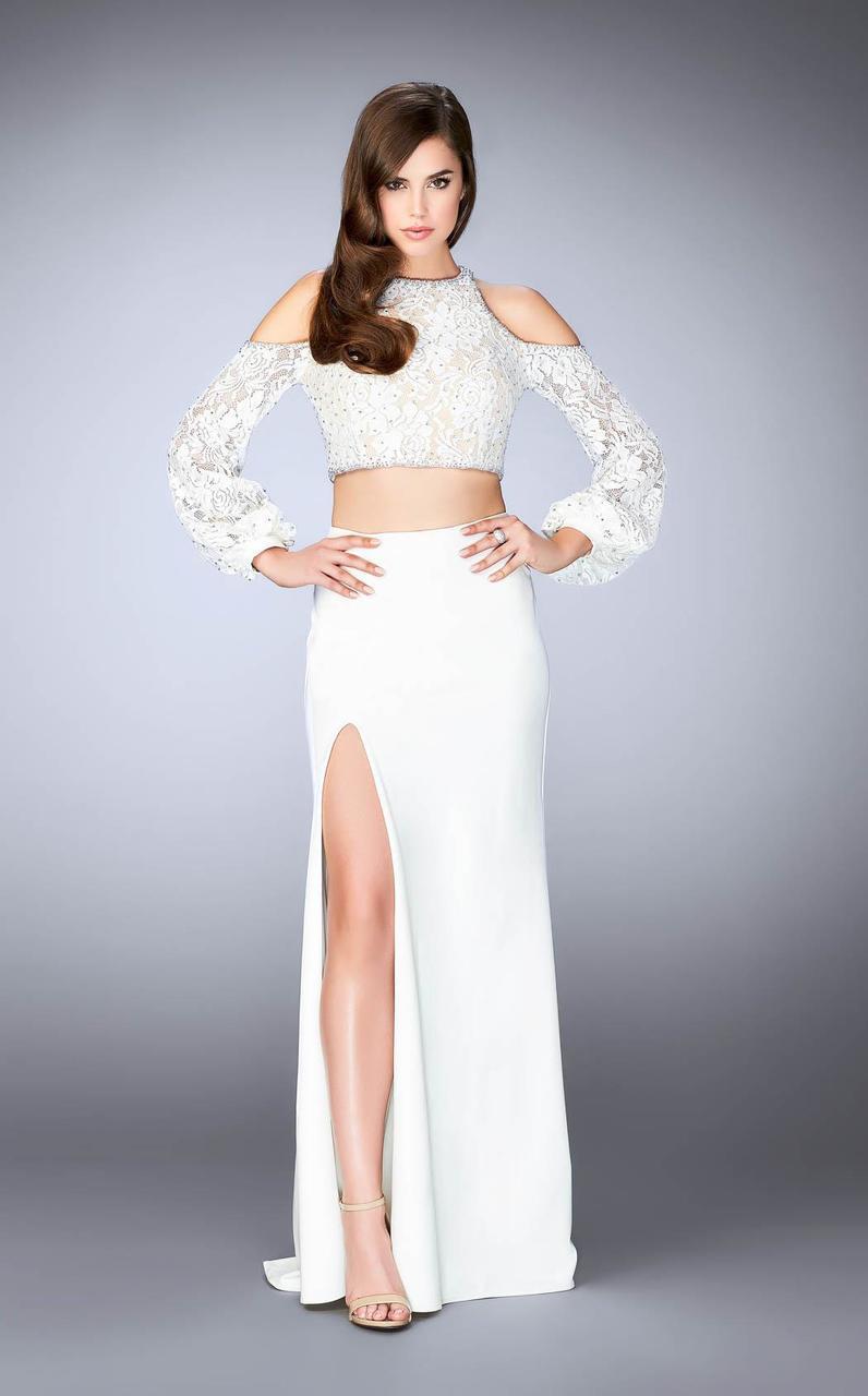 Lyst - La Femme 24116 Classy Lace Split Shoulder Jewel Long Evening ...