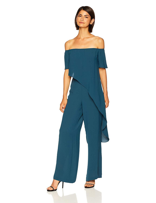 ea91236e84e7 Adrianna Papell - Blue Ap1d102317 Asymmetrical Popover Off-shoulder Jumpsuit  - Lyst