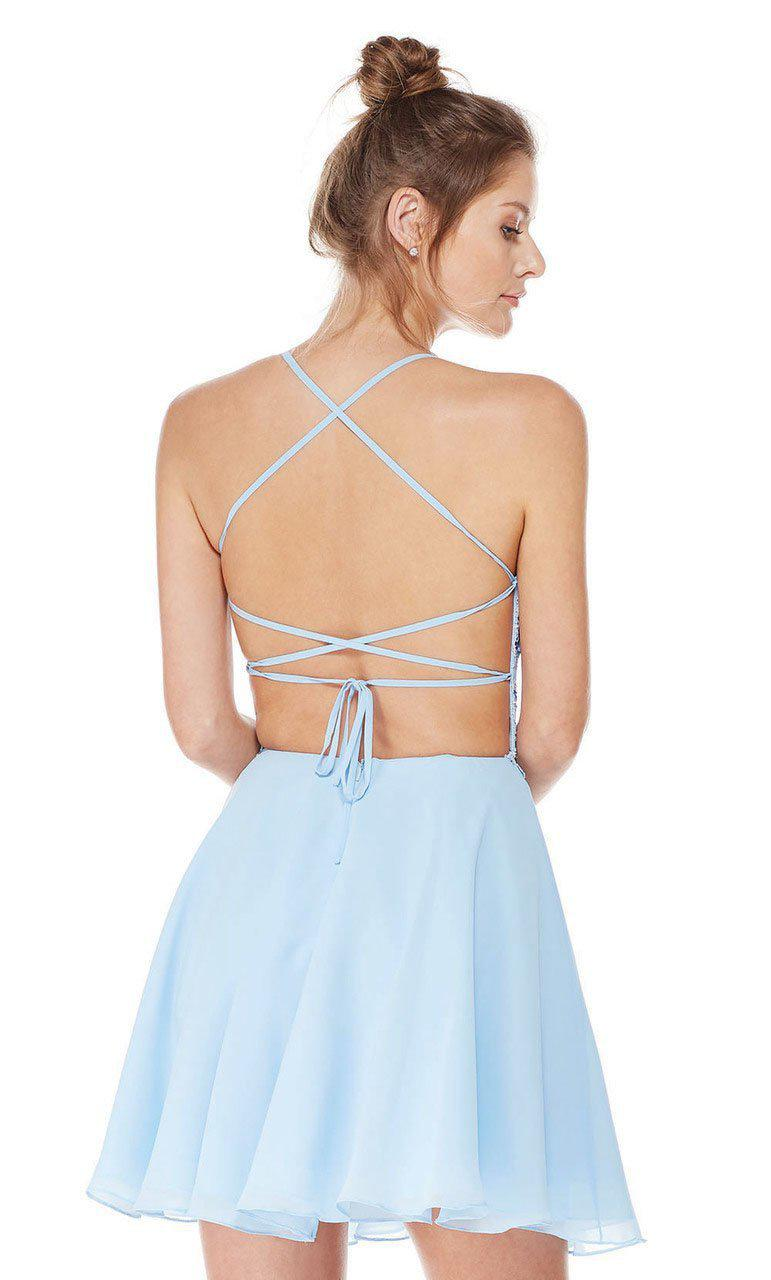 54f9af7ac89 Lyst - Alyce Paris 4049 Strappy Open Back Lace And Chiffon Cocktail ...