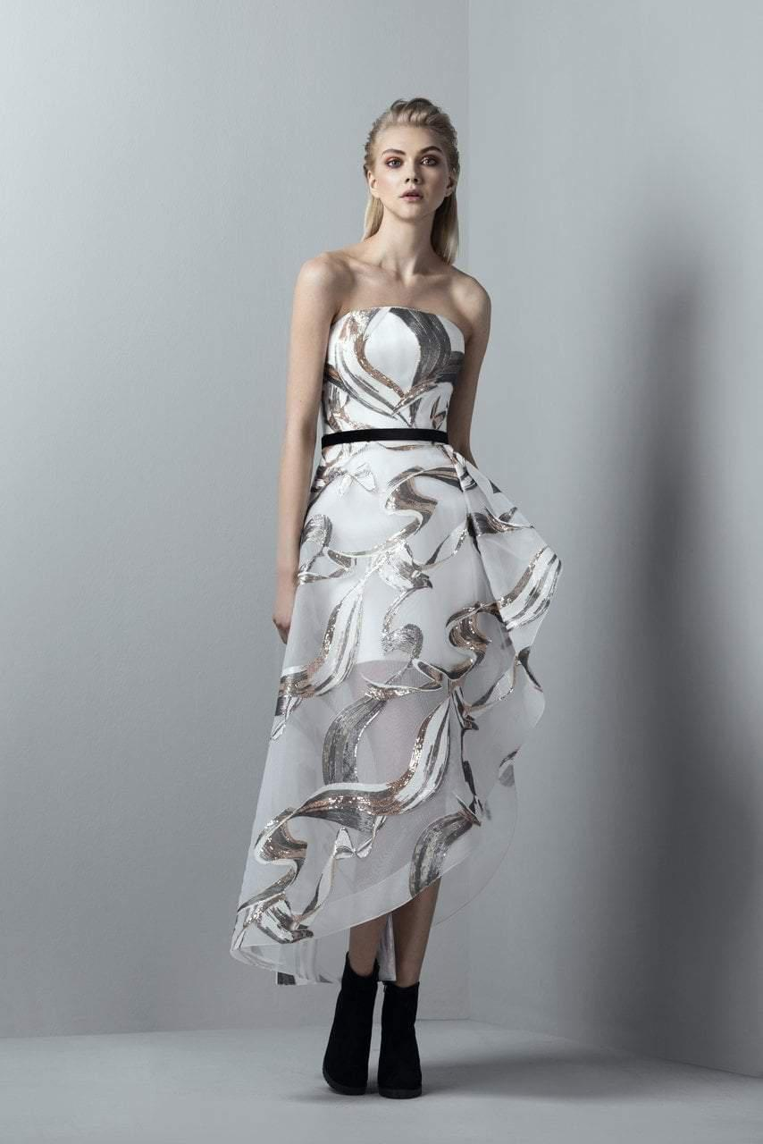 6a64b1ed6201 Saiid Kobeisy. Women's White 3356 Sequined Asymmetrical High Low Gown.  $1,560 From Couture Candy