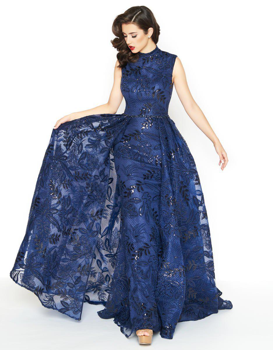 6f079e3cb7 Mac Duggal 20098r Lace High Neck Sheath Dress With Overskirt in Blue ...