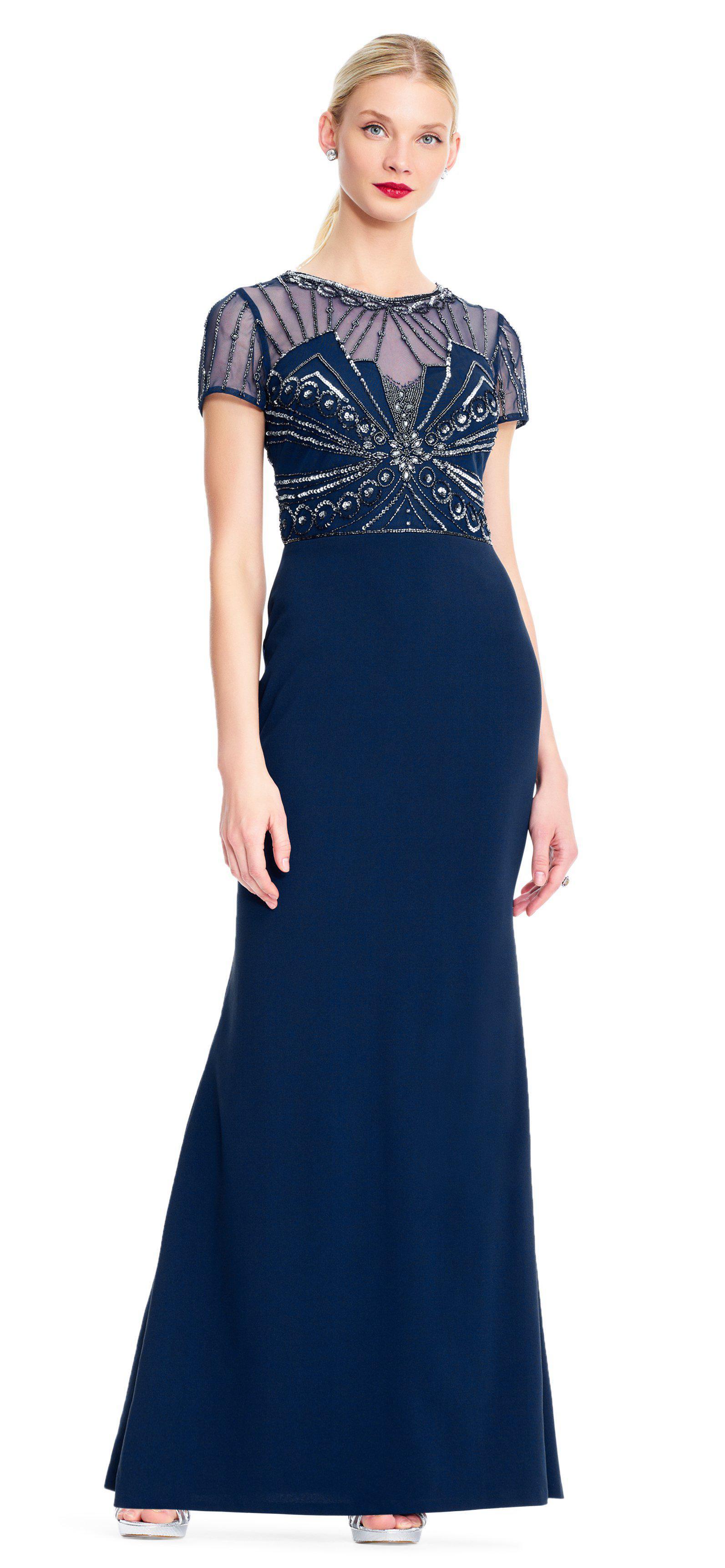 7740f428d7db Adrianna Papell. Women s Blue Ap1e203646 Beaded Sheer Short Sleeve Trumpet  Dress