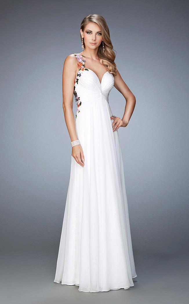 Lyst - La Femme 22610 Sleeveless Floral Applique Evening Gown in White