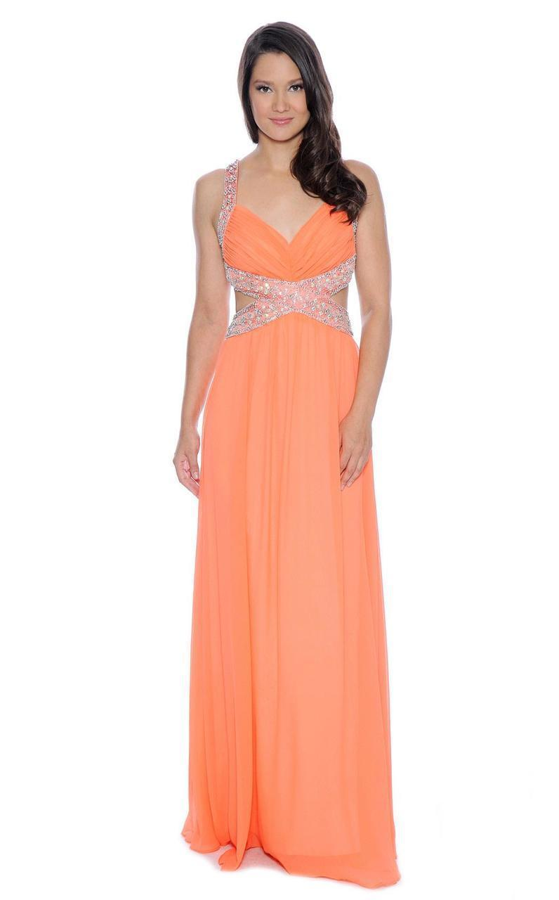 Lyst - Decode 1.8 Bejeweled Strapped Cutout Back Evening Gown 182277 ...