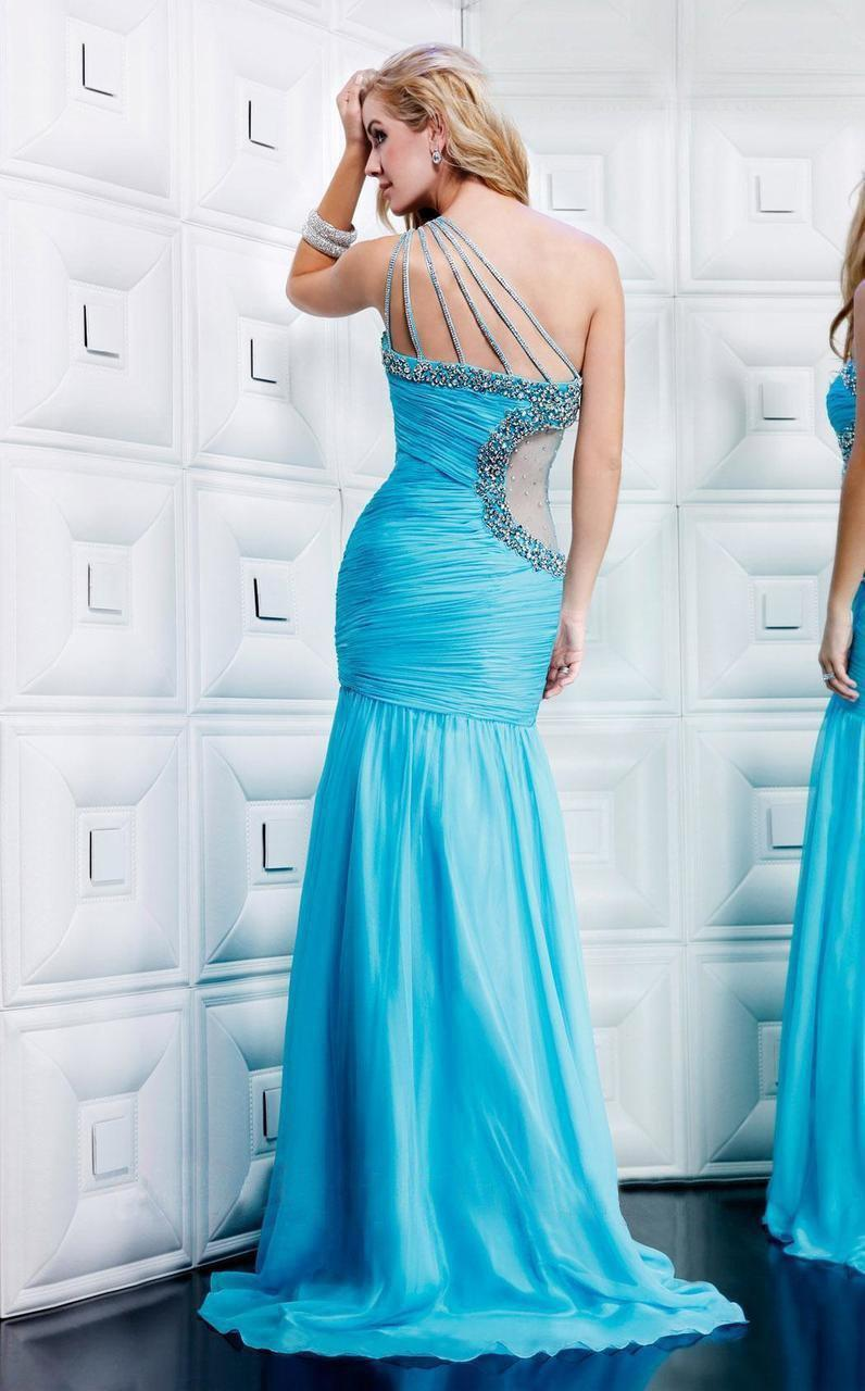590ee4830564 Mnm Couture - Blue Asymmetrical Ruched Embellished Evening Gown 7760 -  Lyst. View fullscreen