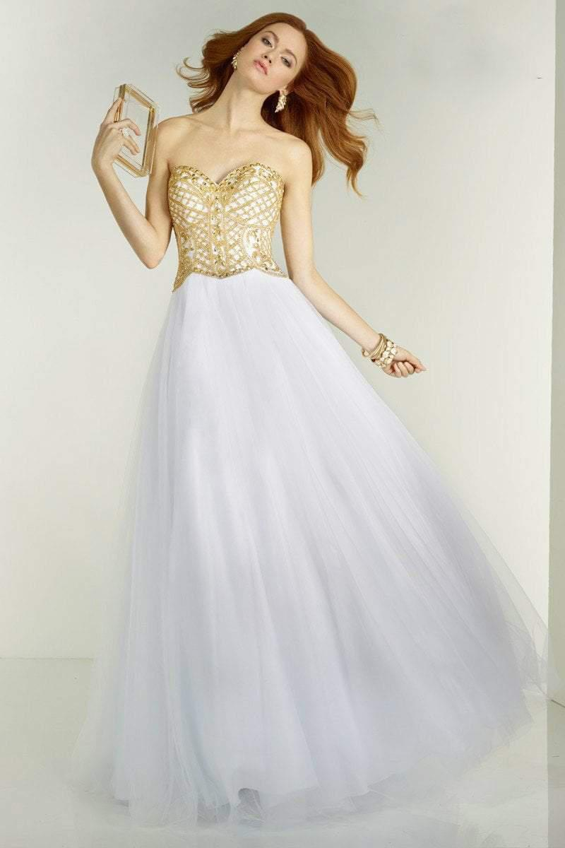 Lyst Alyce Paris 6574 Prom Dress In White Gold In White