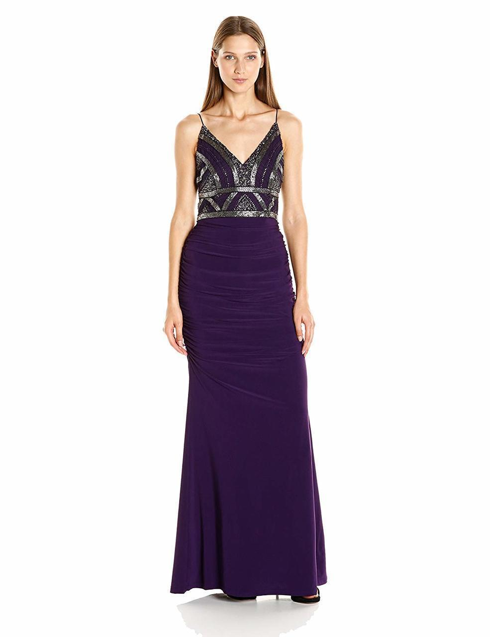 c5b1dc75 Adrianna Papell. Women's Purple Ap1e200204 Embellished V-neck Ruched Sheath  Dress. $458 $229 From Couture Candy