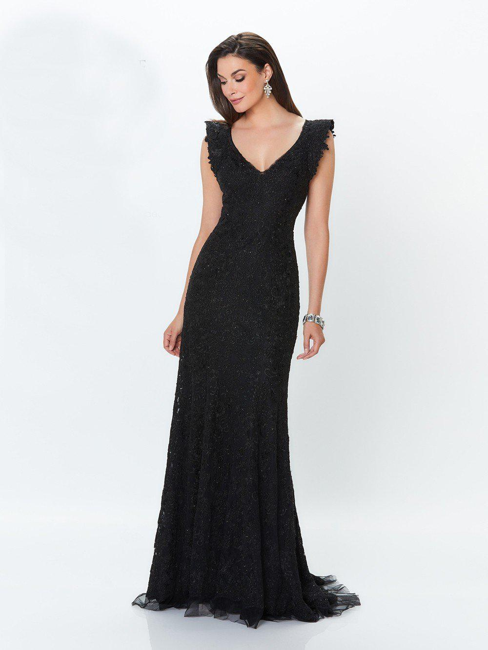 df45e72866f2 Mon Cheri. Women s Black Montage By - 119941w Allover Lace Sleeveless  Evening Dress