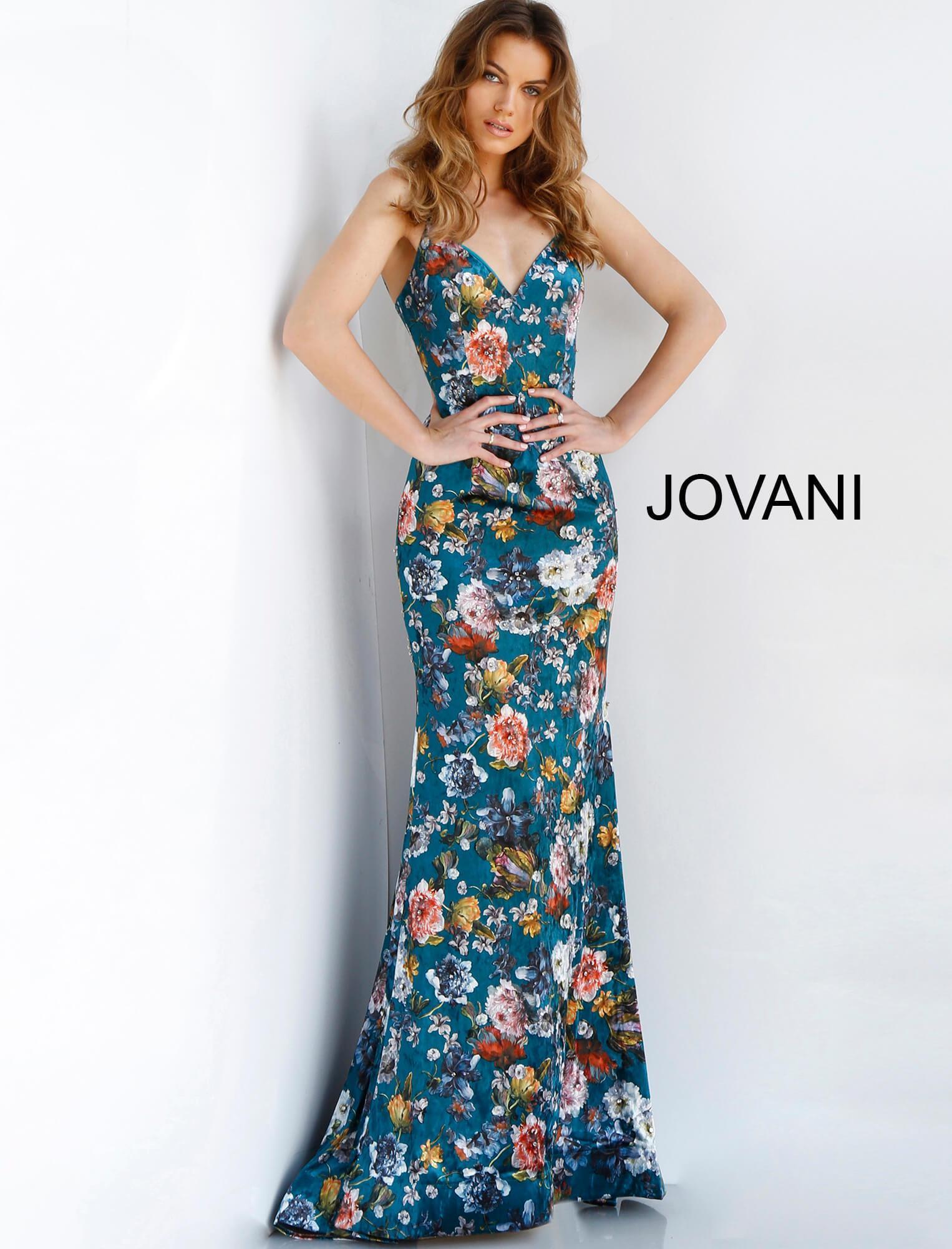 fa9c5e50862 Jovani - Blue 63576 Floral Print Plunging V-neck Trumpet Dress - Lyst. View  fullscreen