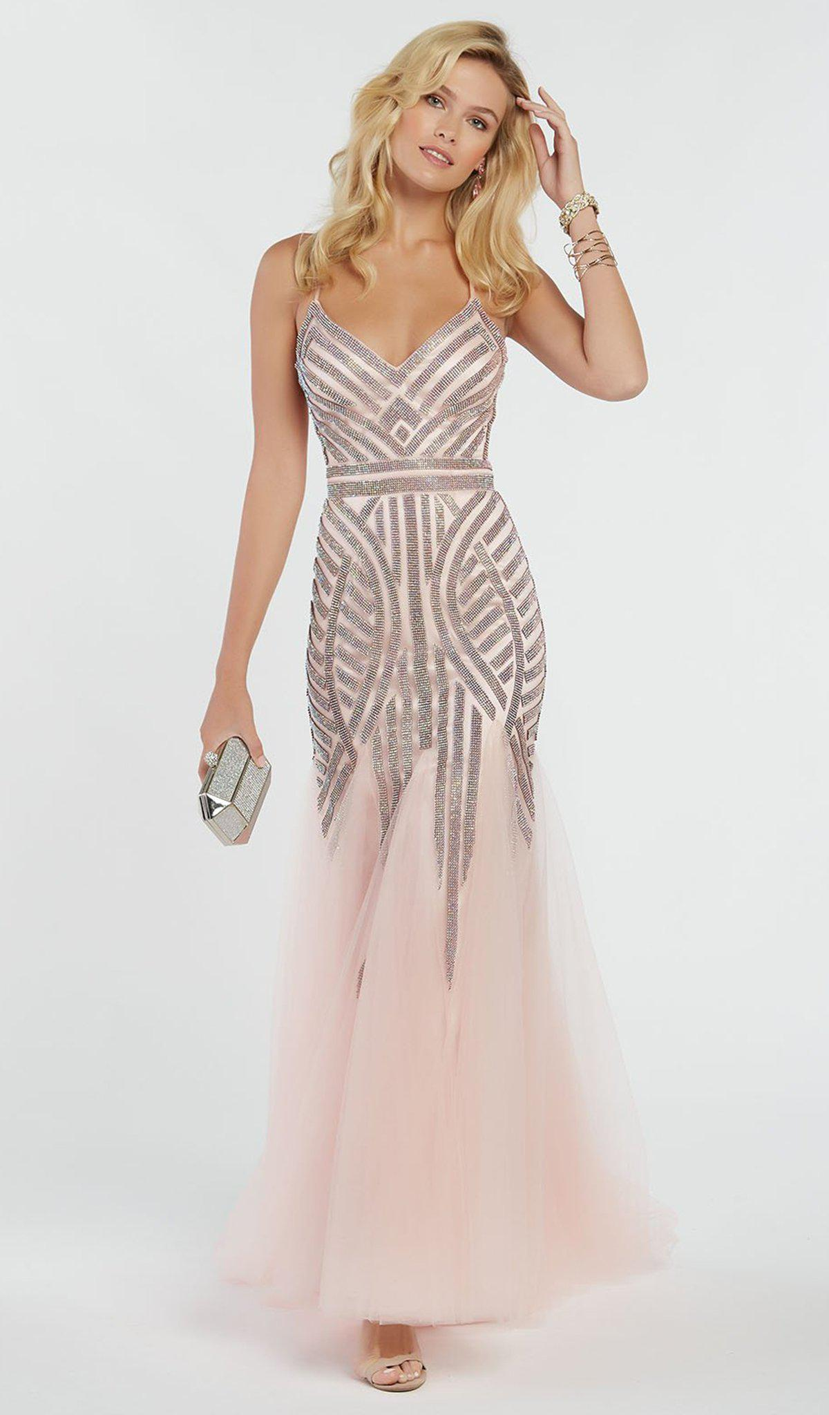e7dae54e35 Lyst - Alyce Paris 60520 Geometric Beaded Trumpet Godet Gown in Pink