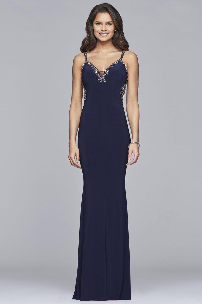 84f0c5dbf5e Lyst - Faviana S10107 Lace Beaded V-neck Jersey Sheath Dress in Blue