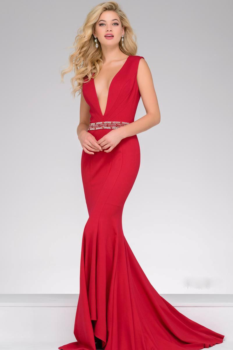 95f6be9f0ad28 Jovani Beautiful V Neck Trumpet Long Prom Dress 40309 in Red - Lyst