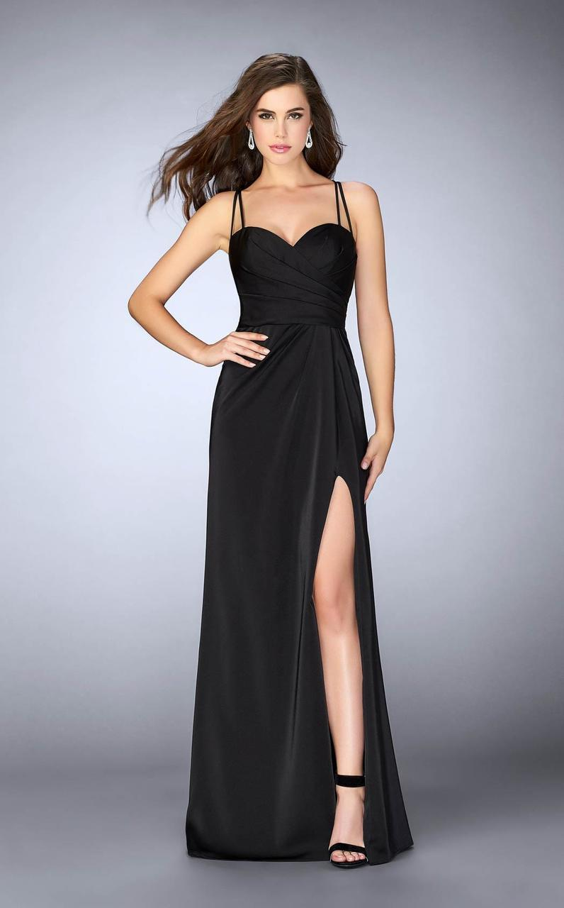 3f88391828e La Femme. Women s Black 24263 Strappy Back Sweetheart Long Jersey Prom Dress
