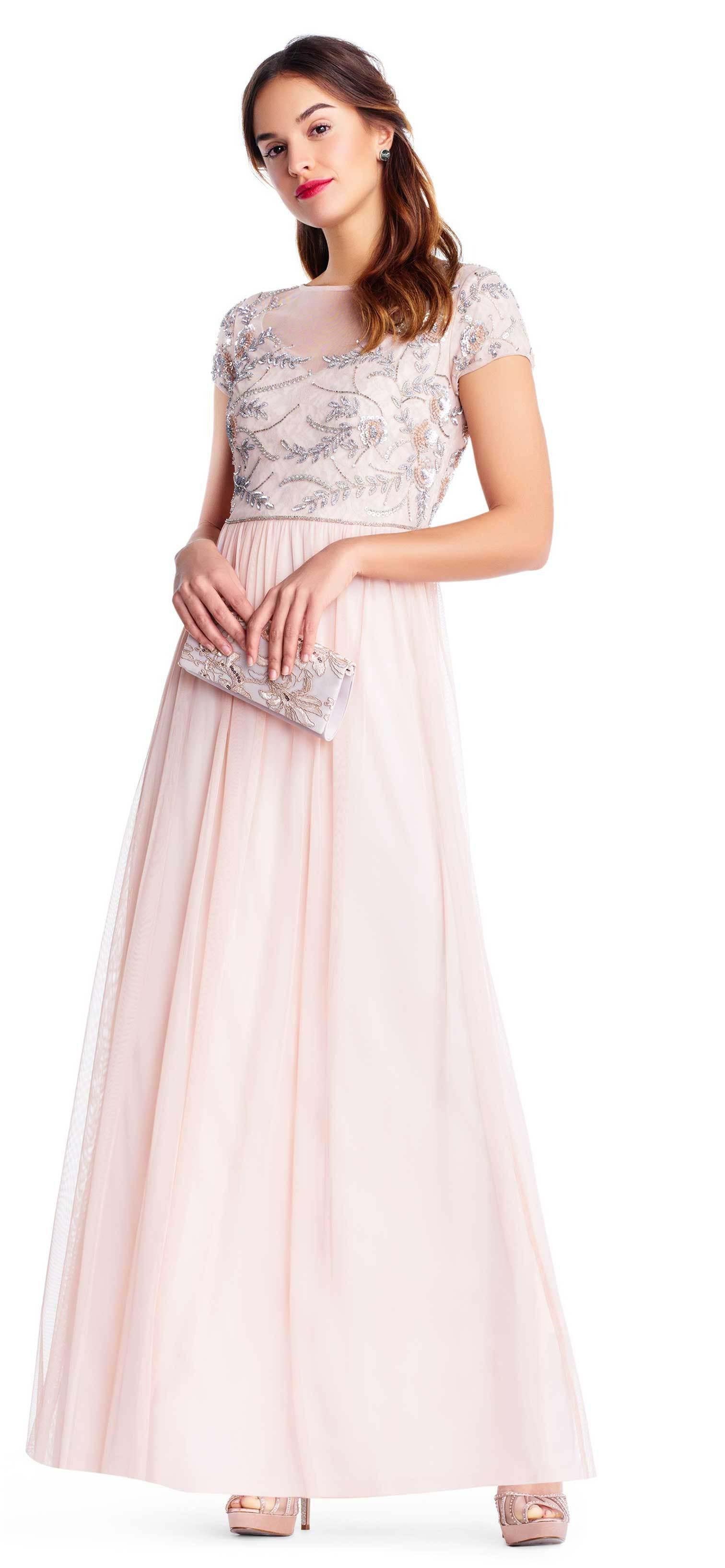 e10fdaaaca8 Adrianna Papell. Women s Pink Ap1e202874 Embellished Illusion Tulle A-line  Dress
