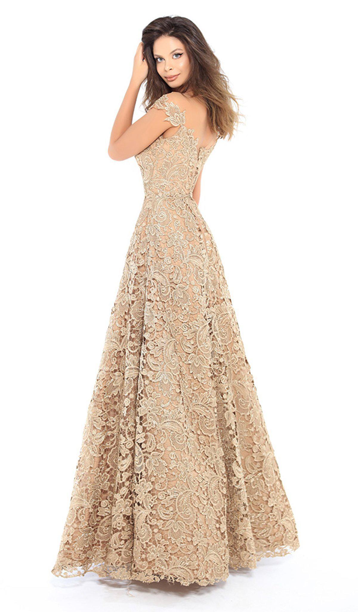 6d9f885996c Lyst - Tarik Ediz 93739 Floral Lace Illusion Neck A-line Dress in ...