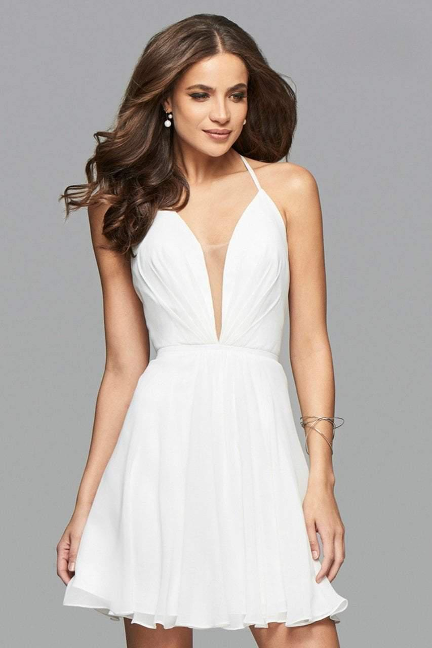 aaaccfbbd6 Lyst - Faviana 7851 Short Plunging V-neck Cocktail Dress With Lace ...