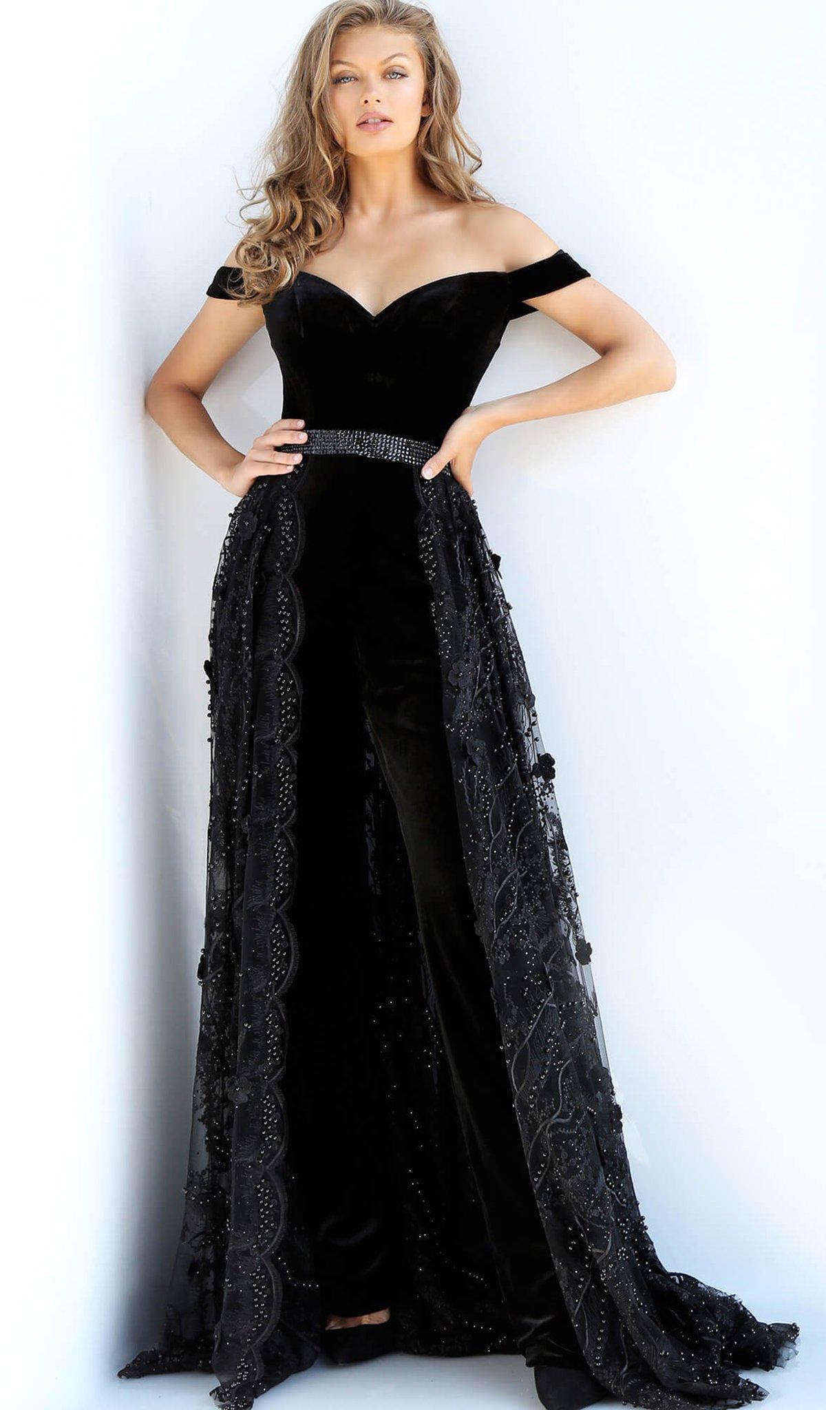 326b48e6bc0 Jovani 58964 Off Shoulder Velvet Jumpsuit Overskirt Gown in Black - Lyst