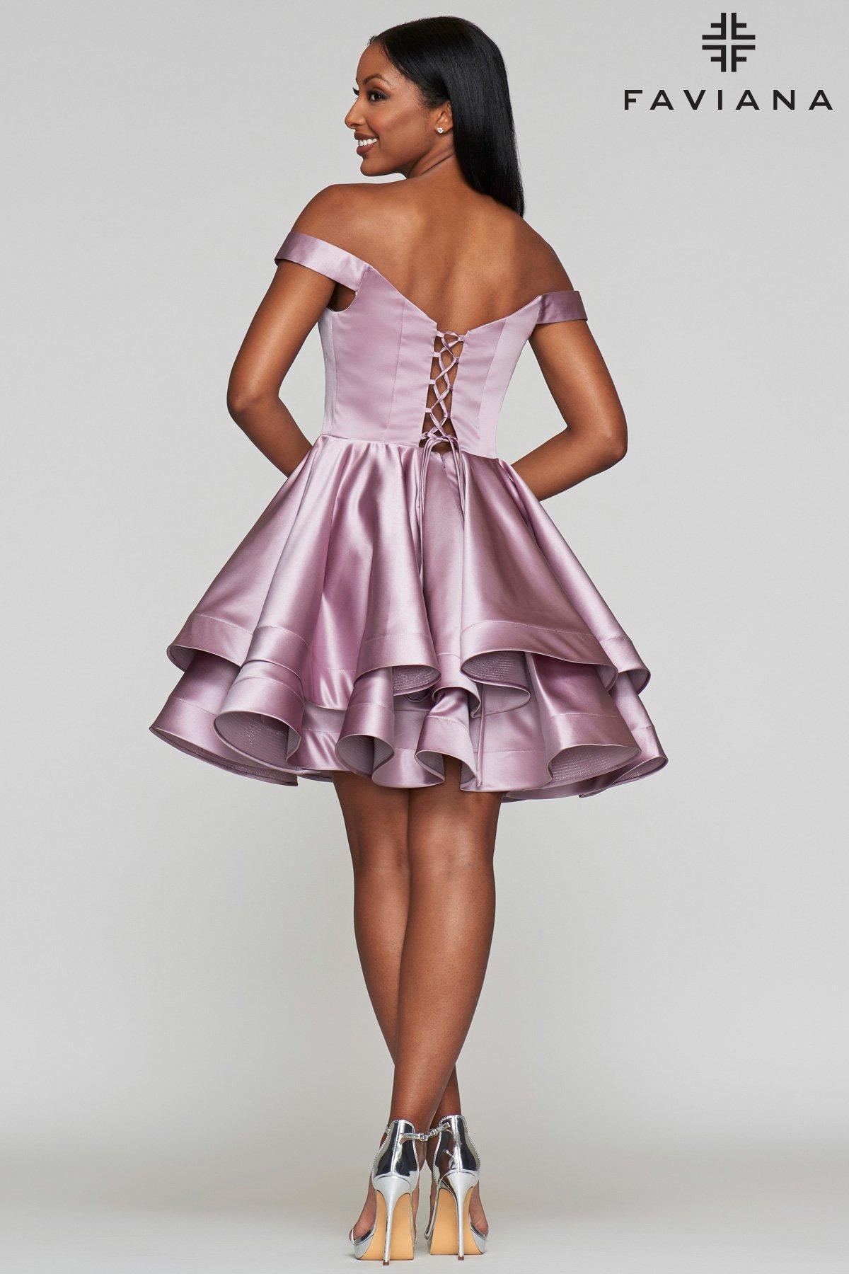 d9705325ccec Faviana - Purple S10364 Plunging Off-shoulder Satin A-line Dress - Lyst.  View fullscreen
