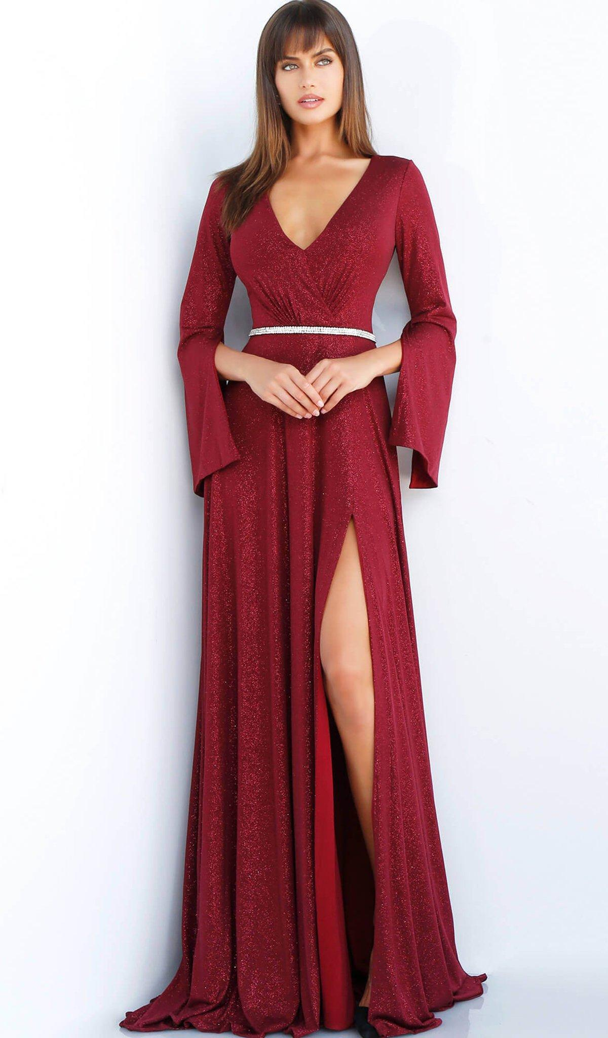 69275144071 Lyst - Jovani 63124 Split Long Sleeve Glitter High Slit Gown in Red