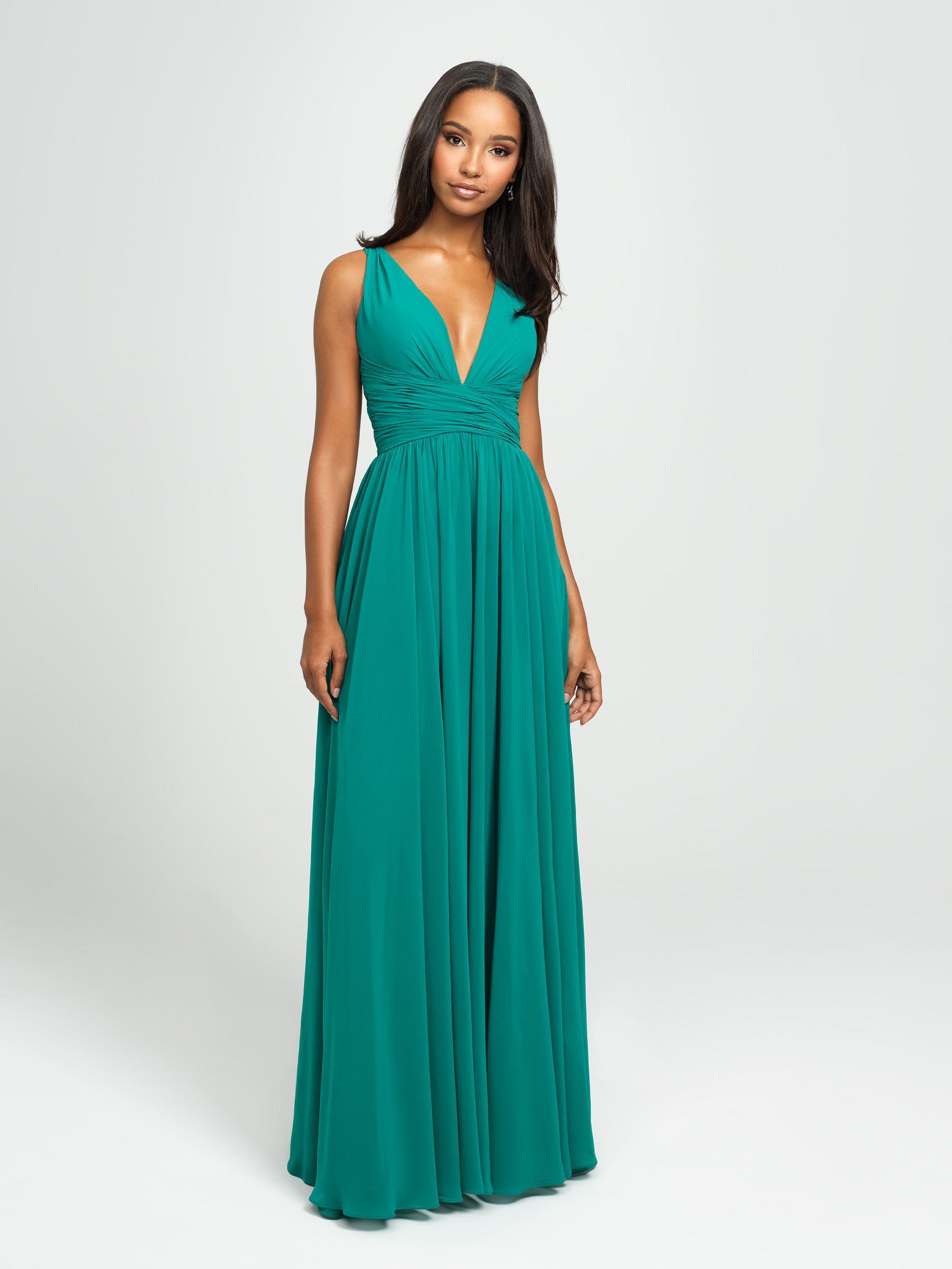 6d18dc12c7e7 Madison James. Women's Green 19-193 Plunging Neck Empire Waist Chiffon A-line  Gown
