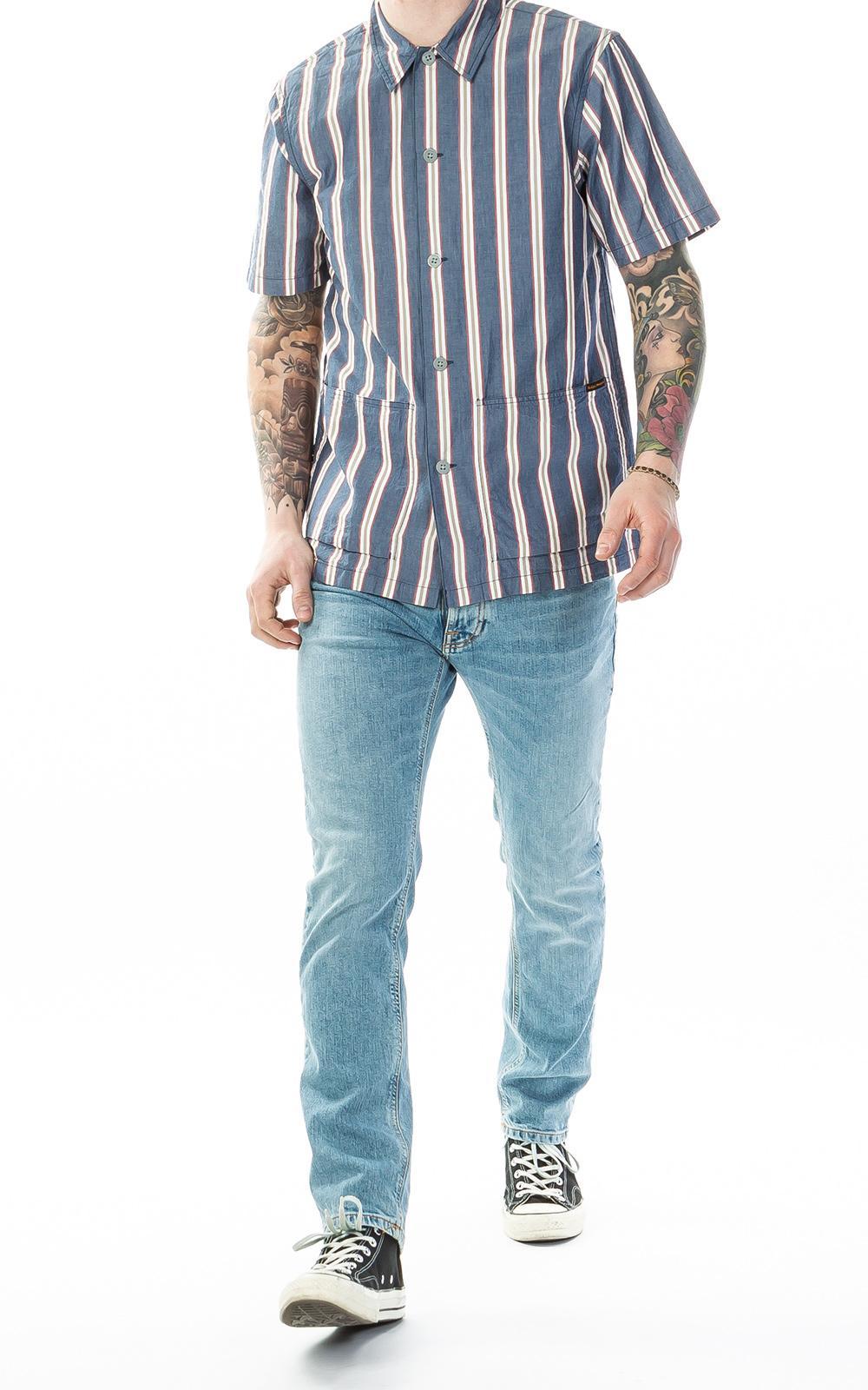 61b7c9f596 Nudie Jeans - Blue Svante Cuban Stripe Multi for Men - Lyst. View fullscreen